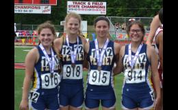 Hannah Graham, Laney Park, Nora Ford, and Jacey Cook with their 7th place medals in the 4x800 m relay.