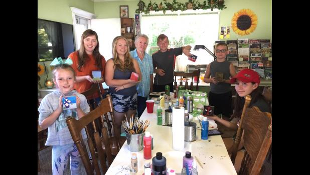Those attending woodworking class at Dottie Russell's was L-R Aselyn Grooms, Wren Dockray, Mikayla Robertson, Dottie Russell, Ryan Robertson, Justin Robertson, and Alanah Haas.