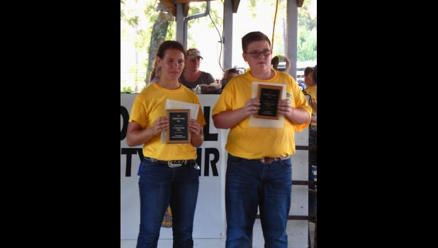 Jodi Robinson and Wyatt Wierzbicki won showmanship awards in the sheep contest.