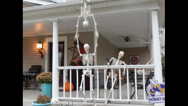 The Doan's were invaded by skeletons Halloween night.