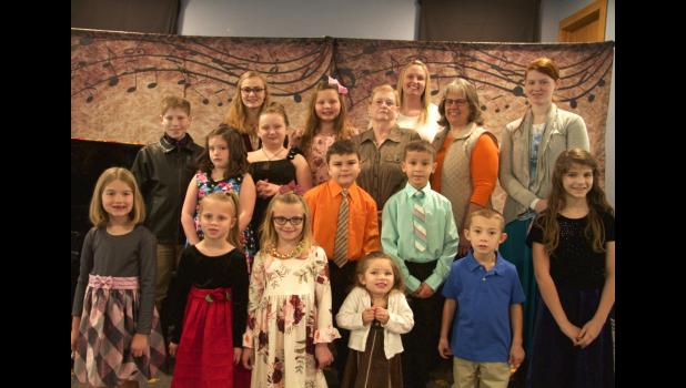 Back row left to right: Olivia, Grace and Erin; third row: Josiah, Brianna, Dona, Beth and Julia; second row: Amadae, Jayden and Dylan; front row: Bonnie, Bryna, Ali, Meaghan, Jarek and Moriah.