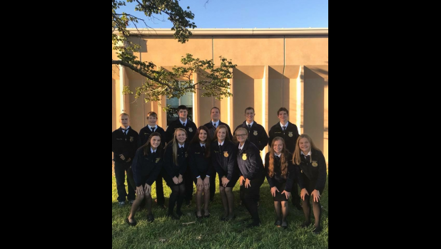 First Row (Left to Right): Kala O'Dell, Paityn Hall, Dallas Hall, Kennedy Stone, Lillian Smith, Katie Basham. Second Row: Bowen Bryers, Jake Henry, Tyler Fitzwater, Jonathan Feil, Ben Holland, Kenny Crumpton.