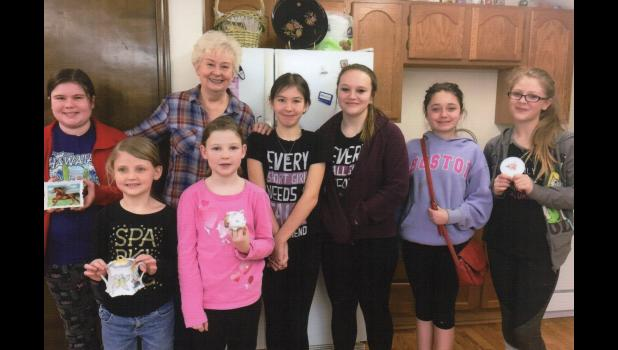 4-H Achievers pictured with some of their painted China: Front row L-R: Kerrianne and Kathryn Farmer; Back row L-R: Ryleigh Jeffers, Peggy Adams, Alanah Haase, Emily Pickens, Josie Morgan, and Kerrie Crouch. Alanah and Josie are members of the Hamilton Achievers 4-H Club