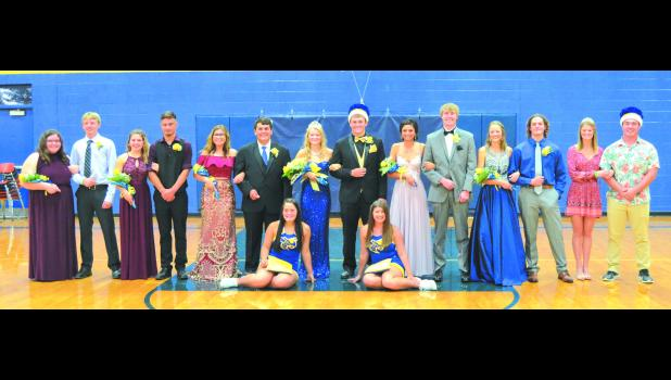 Back row (left to right) Freshman attendants: Jacy Knudson, Andrew Rich. Junior attendants: Hannah Graham, Landon Huff. Senior candidates: Jacey Cook, Shade Hardy. Homecoming Queen, Murphy Park, Homecoming King, Malachi McBee. Senior candidates, Shaylea East, Cale Whitt. Sophomore attendants: Ashley Brown, Tanner Ford. 2017 Queen, Mati Park and 2017 King, Kenny Pulley. Front row: Ali Trosper, Hali Dinwiddie