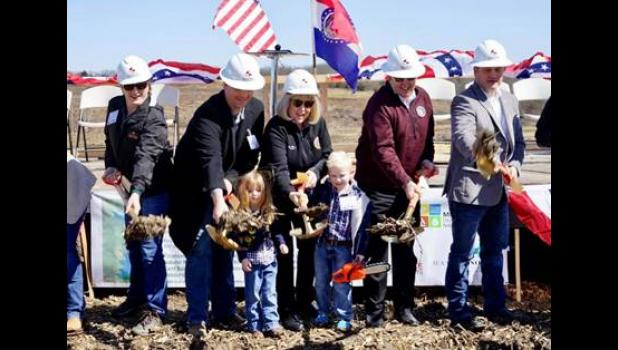 Senator Hoskins, right, joined the governor, first lady and local and federal officials in turning the first dirt toward construction of the Little Otter Creek Reservoir.