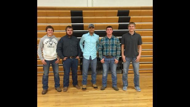 KKWK/KMRN ALL Stars from Penney High School: Brock Swindler, Garrett Trosper, Latroy Harper, Kenny Pulley and Jaran Richman.