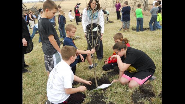 Ms. Still helping the fifth grade plant their fruit tree: Daniel McGovern, Landon Norton, Connor Monchil, Cole Smith and Ella Galbraith.