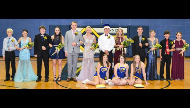 Penney High 2017 Homecoming Court: (from left to right) Freshman attendants Losson Park and Evie Pingleton, Junior attendants Justin Knudsen and Harlee Ford, Senior King and Queen candidates Clayton Cook and Kassie Moore, Homecoming King Kenny Pulley and Homecoming Queen Mati Park, Senior King and Queen candidates Christian Dixon and Margaret Gaunce, Sophomore attendants Decker Raymond and Atison Allsup. (front row) Cheerleader escorts Tegan Bruce, Kacie Carman and Mariah Blackburn.