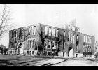 Early on the morning of Nov. 12, 1919, fire was discovered on the roof of the north side school building. Sparks from a chimney had ignited the roof, or a defective flue in the attic caused the roof to ignite. Teachers and students exited classrooms in an orderly fashion and no one was injured during the excitement.
