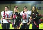 Braymer Homecoming Royalty: Prince Dylan Jeffers and Princess Disney Fry; King Derrick McElwee and Queen Cheyenne Hall.